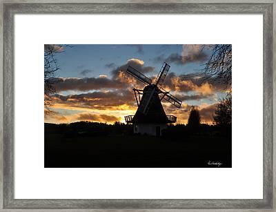 Sunset Over Oak Harbor Windmill Framed Print by Pam Headridge