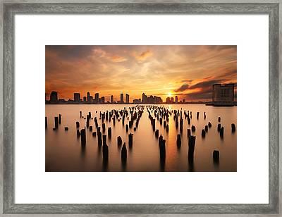 Sunset Over The Hudson River Framed Print by Larry Marshall