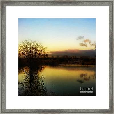 Sunset Over The Lake Framed Print by Isabella F Abbie Shores
