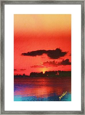 Sunset Over Three Lakes Framed Print by Bob Whitt