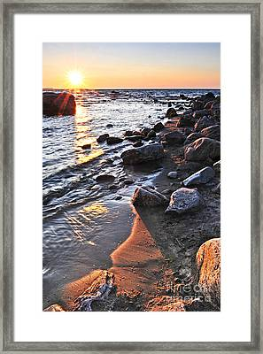 Sunset Over Water Framed Print by Elena Elisseeva