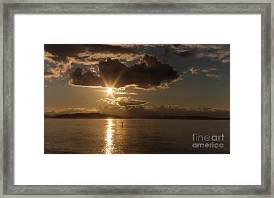 Sunset Paddleboarder Framed Print by Mike Reid