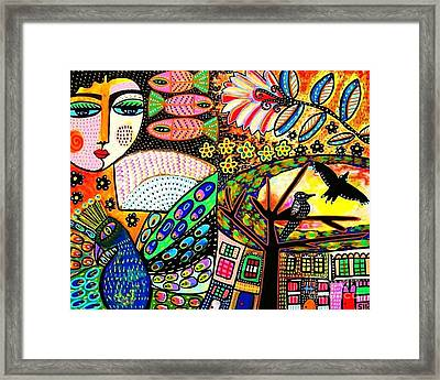 -sunset Peacock Goddess Framed Print