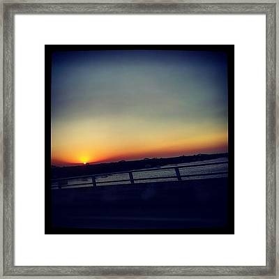 #sunset #rainbow #cool #bridge #driving Framed Print