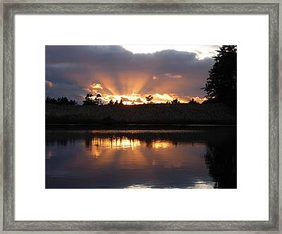 Framed Print featuring the photograph Sunset Rays Bursting Over Lake Bradley by Cindy Wright