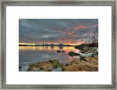 Sunset Reflecting Water,clouds, Sandnessund Bridge Framed Print by Bernt Olsen