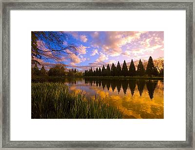 Sunset Reflection On A Pond, Portland Framed Print by Craig Tuttle
