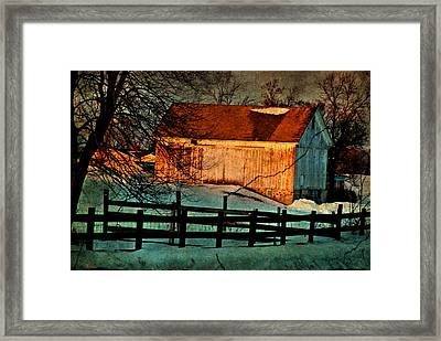 Sunset Reflects - Aged Photo Framed Print by Janice Adomeit