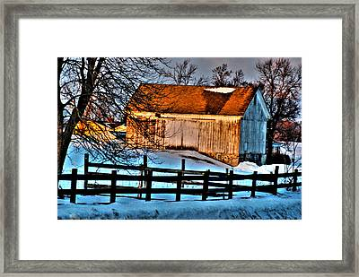 Sunset Reflects Framed Print by Janice Adomeit