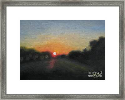 Framed Print featuring the painting Sunset Road by Jindra Noewi