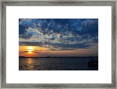 Framed Print featuring the photograph Sunset Rockaway Point Pier by Maureen E Ritter