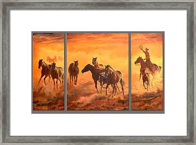 Sunset Run Triptych Framed Print by Jana Goode