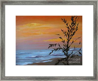 Framed Print featuring the painting Sunset Sea Oats by Gretchen Allen