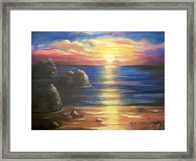 Sunset Seascape Framed Print by Joni McPherson
