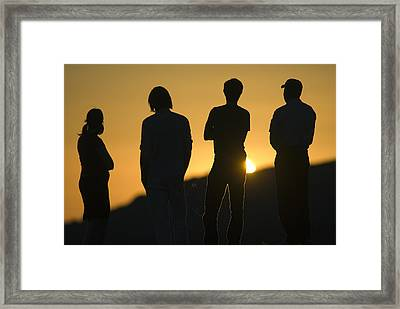 Sunset Silhouette Over Corral Canyon Framed Print by Rich Reid