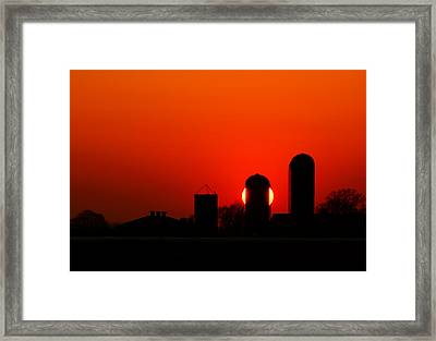 Sunset Silo Framed Print by Cale Best