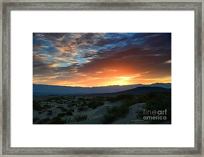 Sunset Sky Sand Dunes Death Valley National Park Framed Print by Nature Scapes Fine Art