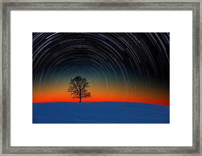 Sunset Star Trails Framed Print
