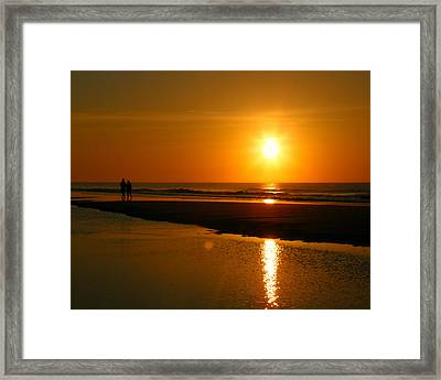 Framed Print featuring the photograph Sunset Stroll by Mark J Seefeldt