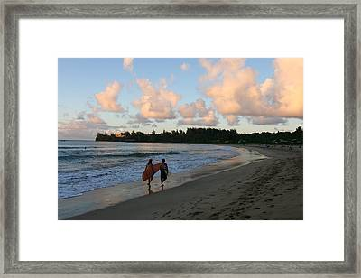 Sunset Surf Framed Print by Lennie Green