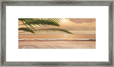 Sunset Surf Panoramic Framed Print by Diane Romanello