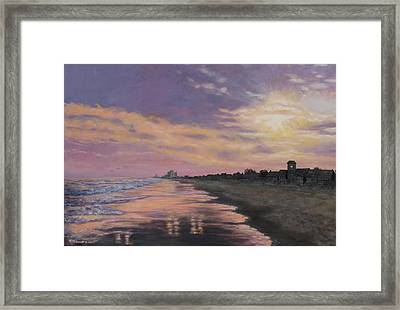 Framed Print featuring the painting Sunset Surf Reflections by Kathleen McDermott