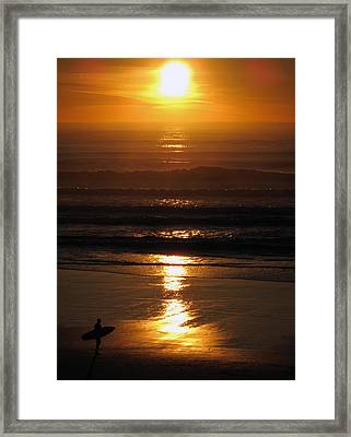 Sunset Surfer Framed Print
