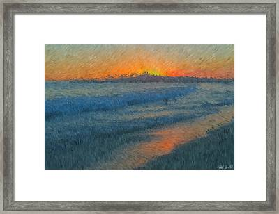 Sunset Surfers Framed Print by Heidi Smith