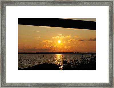 Framed Print featuring the photograph Sunset Through The Rails by Michael Frank Jr