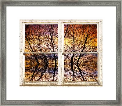Sunset Tree Silhouette Colorful Abstract Picture Window View Framed Print by James BO  Insogna