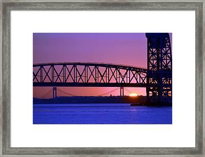 Framed Print featuring the photograph Sunset Verrazano Under Marine Park Bridge by Maureen E Ritter