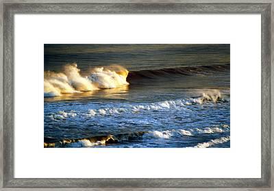 Framed Print featuring the photograph Sunset Wave Rockaway Beach Nyc by Maureen E Ritter