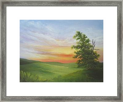 Sunset With A Tree Framed Print by Mary Rogers