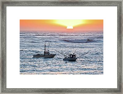 Sunset With Fishing Boats Framed Print