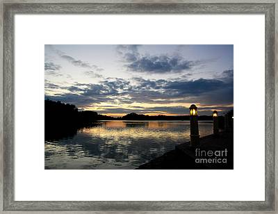 Sunset With Lights Framed Print by Jo