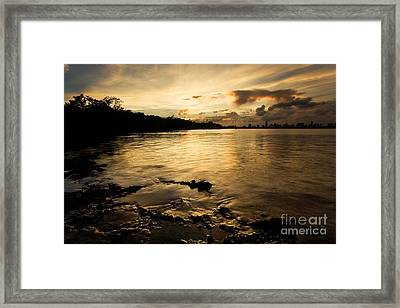 Sunset With Miami In The Distance Framed Print by Matt Tilghman