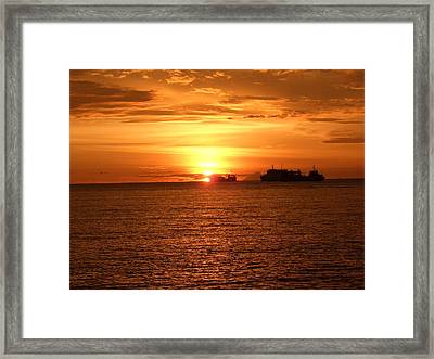 Sunset With Ship Framed Print
