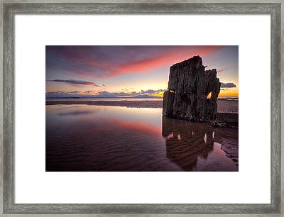 Sunset Wreck Framed Print