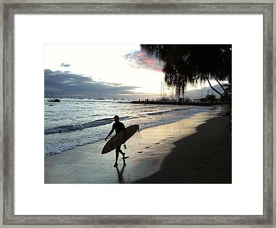 Sunsetsurf Framed Print by Kathy Corday