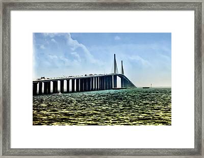 Sunshine Skyway Bridge - Tampa Bay Framed Print by Bill Cannon