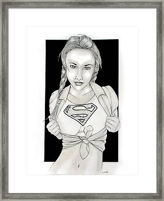 Supergirl Framed Print by Nathan  Miller