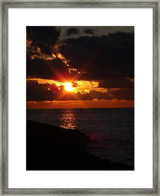 Framed Print featuring the photograph Superior Sunset by Bonfire Photography