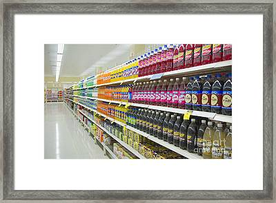 Supermarket Shelves And Aisle Framed Print by Dave & Les Jacobs