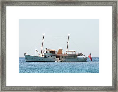Superyacht Blue Bird Framed Print by Paul Cowan