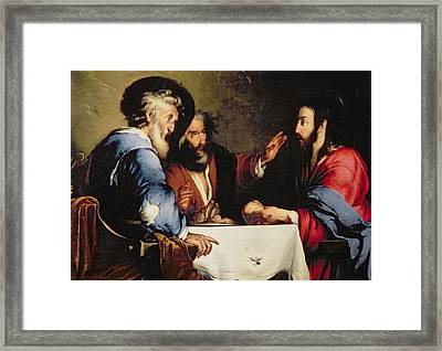 Supper At Emmaus Framed Print by Bernardo Strozzi