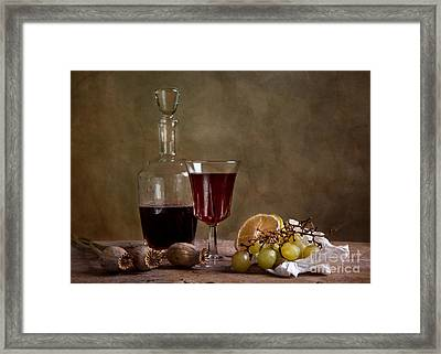 Supper With Wine Framed Print by Nailia Schwarz