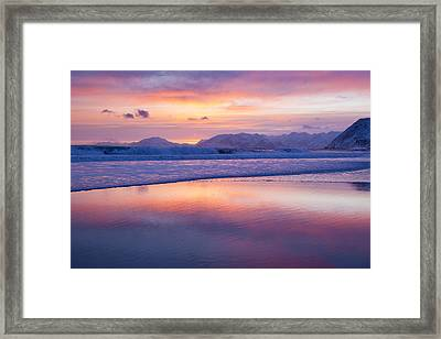 Surf And Sunset Framed Print by Tim Grams