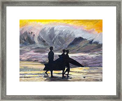 Surf Riders Framed Print