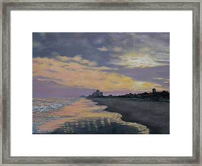 Framed Print featuring the painting Surf Sunset Reflections by Kathleen McDermott