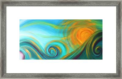 Surf Up At Sun Down Framed Print by Reina Cottier